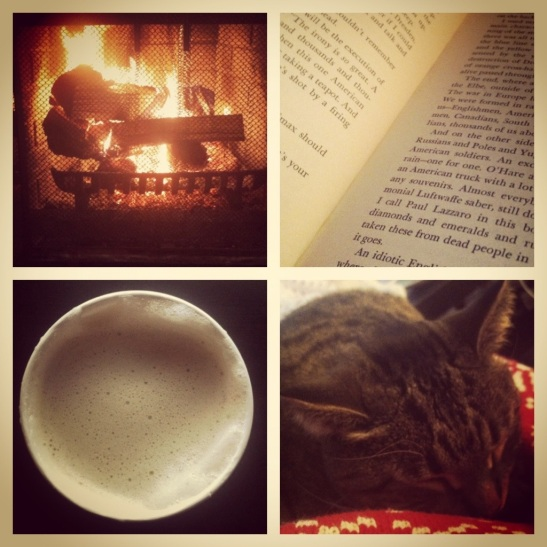 Day off - fire, Vonnegut, Starbucks, and kitty love