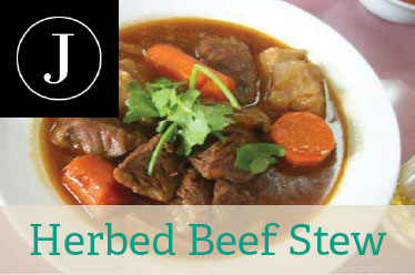 Herbed Beef Stew with Almond Poppyseed Noodles  |  Julie101.com